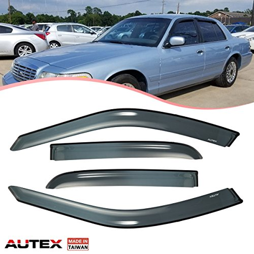 AUTEX Tape On Window Visor Compatible with Ford Crown Victoria 1998-2011 Compatible with Mercury Grand Marquis 1992-2011 Compatible with Mercury Marauder 2003 Sun Wind - Crown Victoria Marquis