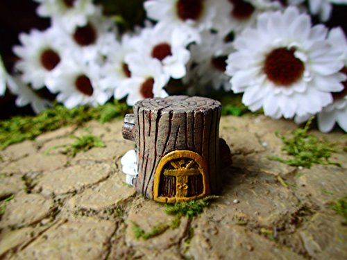 Miniature Fairy Garden Tree Stump House, Fairy Garden Cement Concrete Home, Micro Fairy Garden House Decoration
