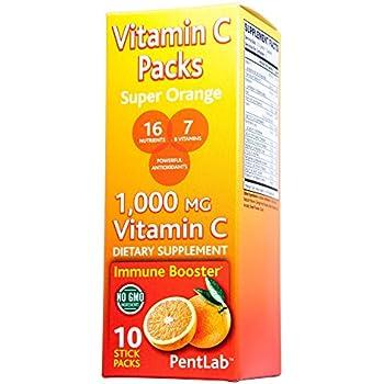Vitamin C Pack Super Orange Flavor 10 Stick Packs Non-GMO 1,000mg Vitamin C