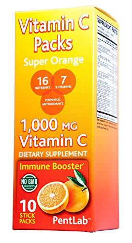 Vitamin C Packs - Super Orange Flavor (10 Stick Packs) Non-GMO Real Orange 1,000mg Vitamin C, 16 nutrients, 7 B Vitamins, Powerful Antioxidants Immune Booster Non-Fizz Real Orange Flavor