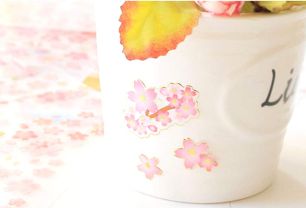 6pcs with Different Patterns Kinteshun Sakura Scrapbooking Stickers,Japanese Style Self-adhensive DIY Decorative Cherry Blossoms Paster Decals Sticker for Scrapbooking or Card Making
