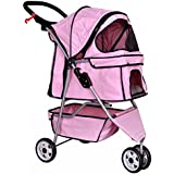 New Pink Pet Stroller Cat Dog Cage 3 Wheels Stroller Travel Folding Carrier T13