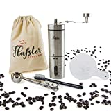Flafster Kitchen Manual Coffee Grinder- Hand Coffee Bean Grinder With Ceramic Mechanism- Portable Stainless Steel Burr Coffee Mill With Foldable Stainless Steel Handle - Ergonomic Design - Accessories