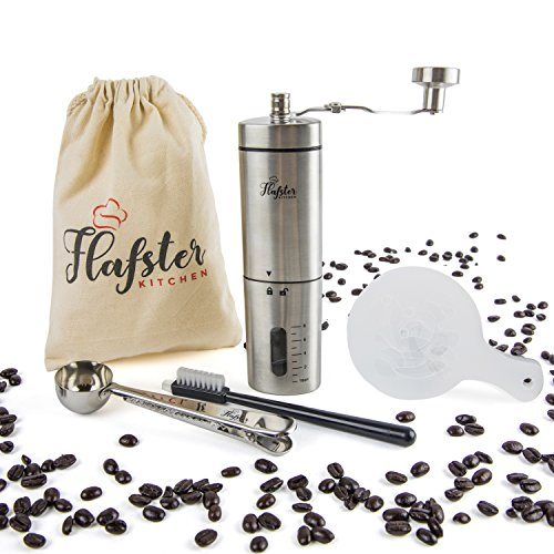 Flafster Kitchen Burr Coffee Grinder- Hand Coffee Bean Grinder With Ceramic Mechanism- Portable Stainless Steel Manual Coffee Mill With Foldable Stainless Steel Handle – Ergonomic Design – Accessories