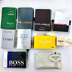 Men's Designer Fragrance Sample Pack: 10 Different Cologne Vials