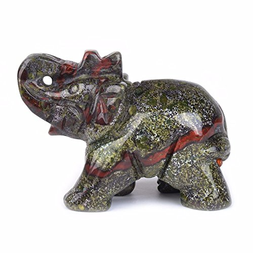 Carved Natural Dragon Blood Jasper Gemstone Elephant Healing Guardian Statue Figurine Crafts 2 inch