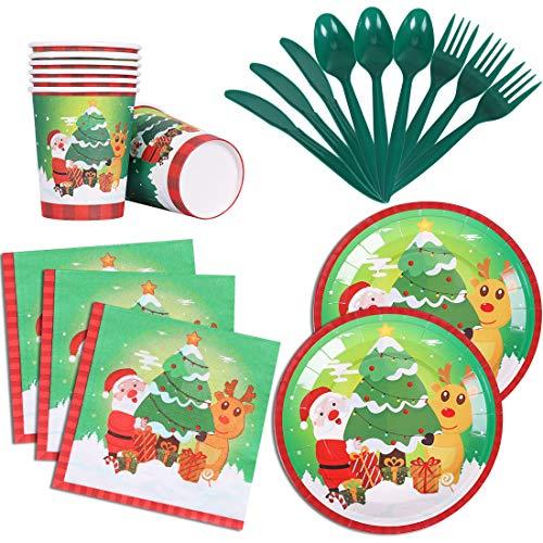 192Pcs Christmas Party Supplies Set Serves 24 Guests Xmas Party Pack Santa elk Disposable Dinnerware Paper Plates…