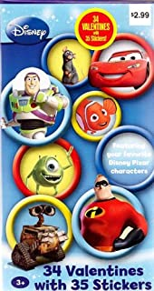 disney pixar characters valentines cards for kids package of 34 with 35 stickers