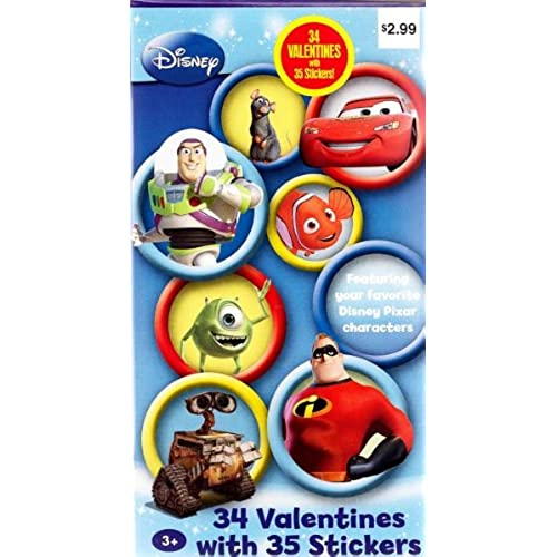 Disney Pixar Characters Valentines Cards for Kids - Package of 34 with 35 Stickers Sales
