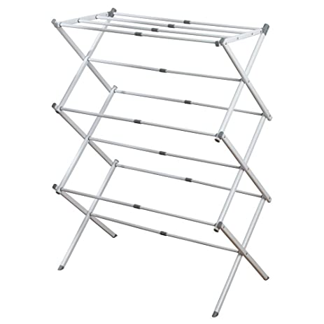 interdesign brezio expandable clothes drying rack for laundry room 3 tiers whitegray