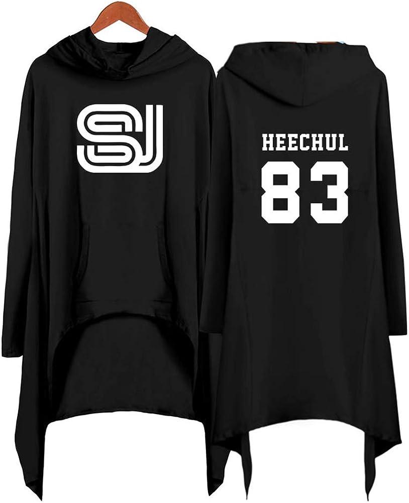 Super Junior KPOP Sudaderas con Capucha Vestido Asimétrico Hoodies Dobladillo Irregular Manga Larga Impresión de Cartas Suelto Pullover Top EunHyuk ...