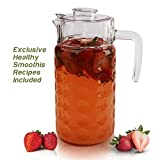 Glass Fridge Pitcher with Lid - 1.8L Dimpled Pressed Water Jug with Easy Pour Spout and Ergonomic Handle for Iced Tea, Juice, Lemonade, With 5 Smoothie Recipes for a Healthy Lifestyle
