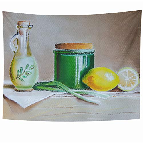 Ahawoso Wall Hanging Tapestries 80x60 Inch Painting Nature Ceramic Still Life Olive Pastel Oil Italy Citrus Yellow Citruses Onion Food Drink Tapestry Wall Blanket Home Decor Living Room Bedroom Dorm