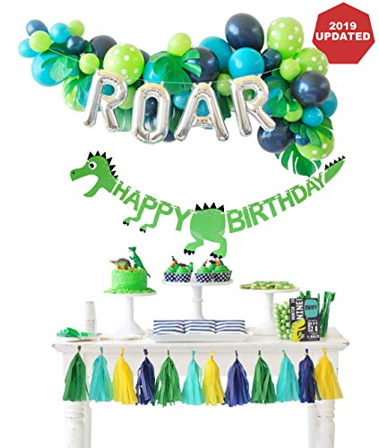 Dinosaur Party Decorations Balloons Garland Kit with ROAR Foil Balloon and Little Dino Happy Birthday Banner for Boys 3 4 Birthday Party Baby Shower Decor]()