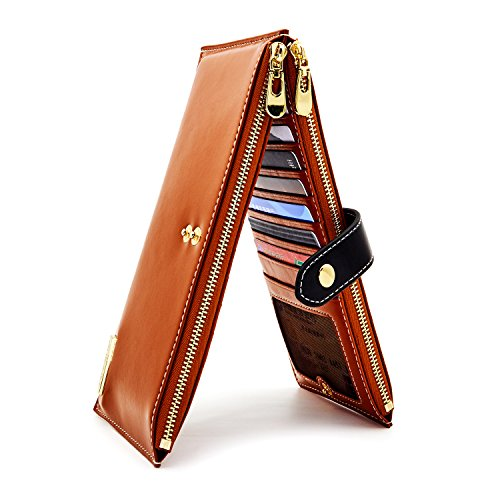 ANDOILT Womens Genuine Leather Wallet RFID Blocking Credit Card Holder Zipper Purse Cell Phone...