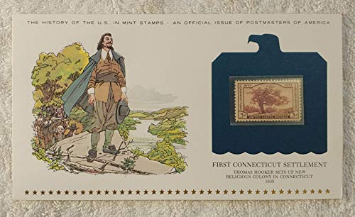 First Connecticut Settlement - Thomas Hooker Sets up New Religious Colony in Connecticut - Postage Stamp (1935) & Art Panel - History of the United States: an official issue of Postmasters of America - Limited Edition, 1979 - The Charter Oak