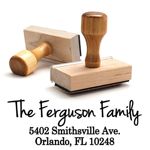 Return Address Stamp Family Last Name Surname Customizable Personalized Traditional Wood Wooden Handle Custom Self Inking Rubber Stamper | Envelope Stamp Custom Packaging ()