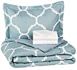 Bed in a Bag Twin Comforter Sets AmazonBasics 5-Piece Bed-In-A-Bag - Twin/Twin Extra-Long, Dusty Blue Trellis
