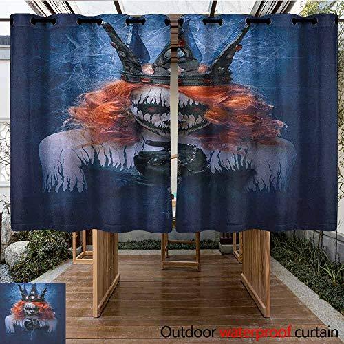 AndyTours Grommet Curtain,Queen,Queen of Death Scary Body Art Halloween Evil Face Bizarre Make Up Zombie,Waterproof Patio Door Panel,K140C115 Navy Blue Orange Black]()