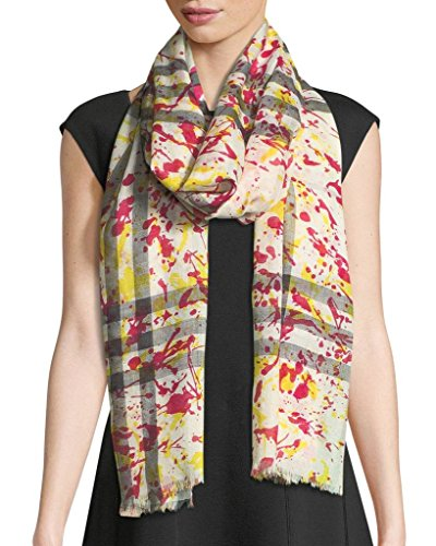- Burberry Wool and Silk Splash Gauze Giant Check Scarf in Bright Yellow