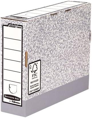 Bankers Box 10800 - Caja de archivo definitivo automático, A4, lomo 80 mm, gris jaspeado: Amazon.es: Oficina y papelería