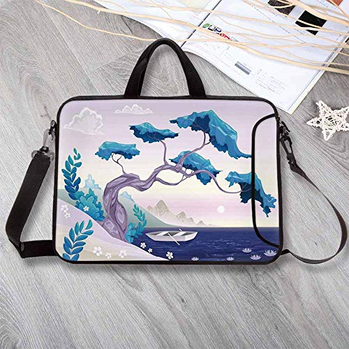Coastal Decor Neoprene Laptop Bag,Fantastic Landscape Bonsai Tree Sea Water Lilies Daisies and Boat Laptop Bag for Office Worker Students,15.4