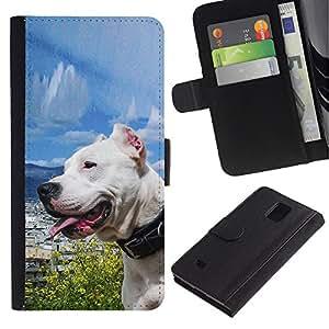 Paccase / Billetera de Cuero Caso del tirón Titular de la tarjeta Carcasa Funda para - Sunny Dog Sea Ocean Pit-Bull Terrier Pet - Samsung Galaxy Note 4 SM-N910