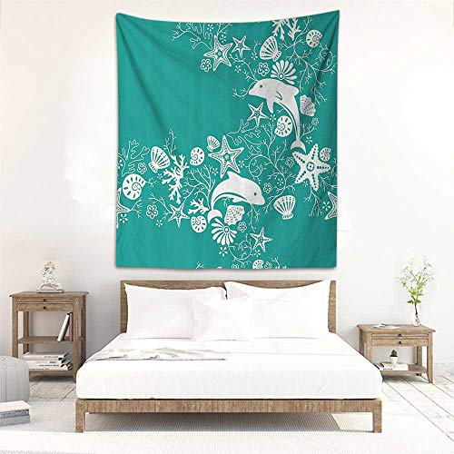 "Godves Tapestry Wall Hanging Sea Animals Dolphins Flowers Sea Life Floral Pattern Starfish Coral Seashell Wallpaper Living Room Background Decorative Painting 40""x60"" Sea Green White"