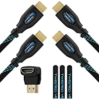 Twisted Veins Two (2) Pack of (25 ft) High Speed HDMI Cables + Right Angle Adapter and Microfiber Cable Ties (Latest Version Supports Ethernet, 3D, and Audio Return)
