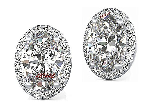 CZ Stud Earrings 4ct OVAL CUT Halo Russian Cubic Zirconia,Simulated diamond, sapphire, emerald, yellow diamond men women gift bridal (diamond-white) ()