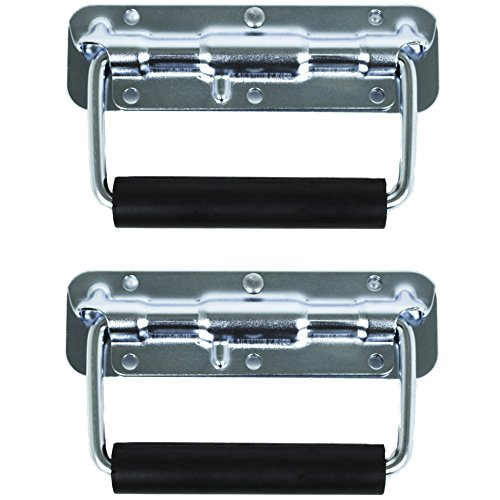Chest Zinc Handle (TCH Hardware 2 Pack Spring Loaded Steel Surface Mount Handle with Padded Rubber Grip - Case Chest Cabinet Trunk)