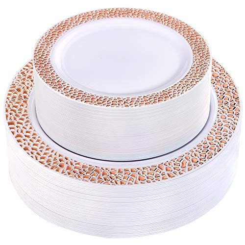 WDF 102pcs Rose Gold Plastic Plates - White with Hammered Design Disposable Wedding Party Plastic Plates Include 51 Plastic Dinner Plates 10.25inch,51 Salad/Dessert Plates 7.5inch