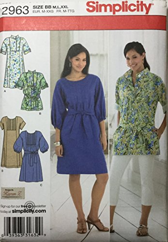 Simplicity Pattern 2963, Misses' Dress or Tunic With Front and Bib Variations, Size BB (M,L,XXL) Rena Tunic