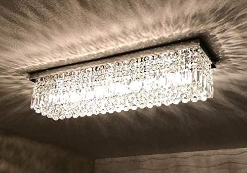 7PM W40 x D10 Modern Rain Drop Rectangle Clear K9 Crystal Chandelier Ceiling Lamp Lighting Fixture 8 Lights for Dining Living Bedroom Room Chrome Frame Flush Mount