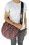 8 AM. Tribal Hmong Striped Ethnic Cotton Boho Sling Shoulder Asia Thai Pattern Crossbody Bag Backpack Top Zip (Stripe Pink1)