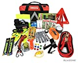 Blikzone Auto Roadside Assistance Car Kit Classic 81 Pc for Vehicle Emergency: Portable Air Compressor, Jumper Cables, Tire Repair Kit, Led Flash Light and Essential Tools to Travel & Drive Safely