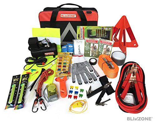(Blikzone Premium Auto Roadside Assistance Emergency Car Kit with 81 Essentials Pc: Portable Air Compressor, Jumper Cables, Tire Repair Kit, Tow Strap, LED Flash Light, Safety Vest & More (Classic Bag))