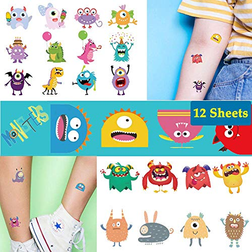 Ooopsi Monster Temporary Tattoos for Kids - More Than 100 Tattoos (Pack of 12 Sheets) - Cute Cartoon Tattoos Sticker for Boy Girl Birthday Party Decorations Supplies Favors