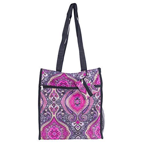 Small Shopper Retro Purple Paisley 13 x 12 Microfiber Canvas Fabric Tote Bag ()