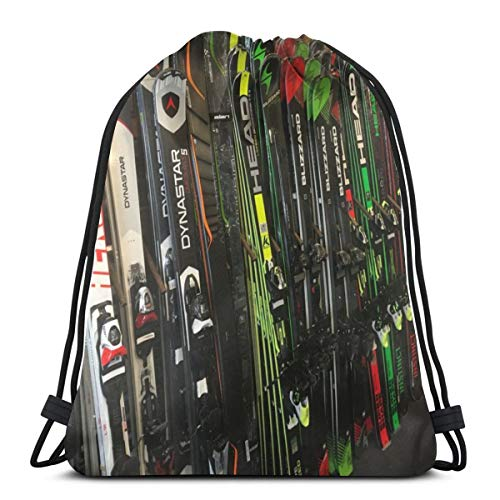 KIENGG Drawstring Backpack Twin Tip Snow Skis Canvas Bulk Sackpack for Men Women String Sports Gym Bag