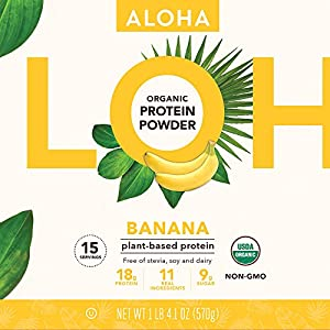 ALOHA Organic Plant Based Protein Powder, Stevia Free, Banana, 4.1 oz, 15 Servings
