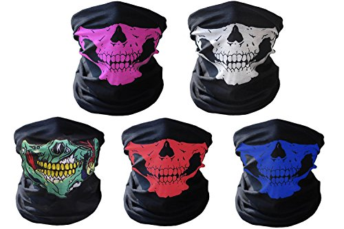 Aikuer Ghosts Balaclava 5PCS Seamless Skull Face Mask, Windproof Motorcycle Face Masks Dust-proof Bicycle Half Face Tube Mask for Men Women Youth Halloween Outdoor Sport Cycling Hiking Camping