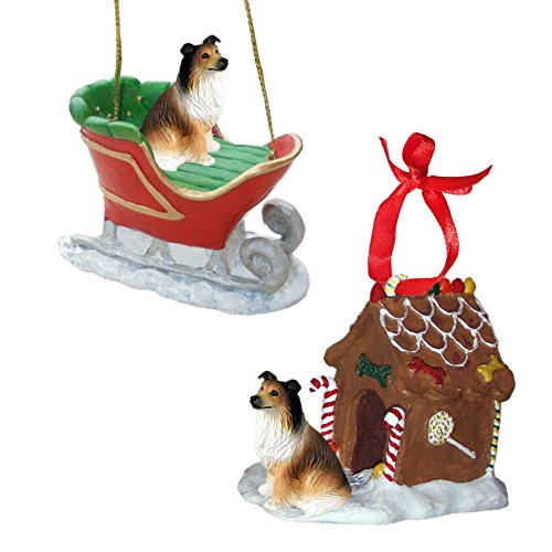 Sable Collie Figurine Christmas Ornaments ()