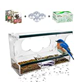 Deluxe Clear Window Bird Feeder – Large Squirrel Proof Bird Feeder with Bird Bath, Protective Roof, 2 Bird Seed Sections, 8 Strong Suction Cups, Removable Tray – Fun for the Whole Family by Birdious