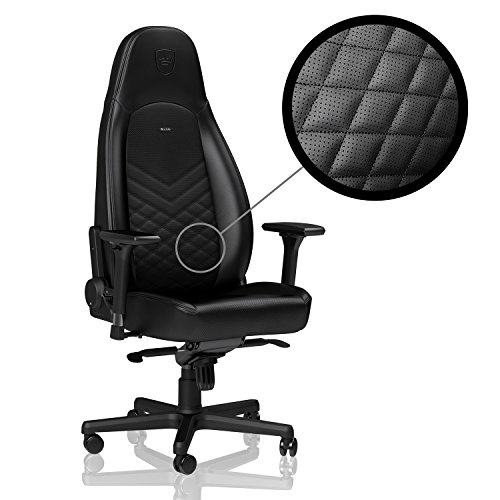 noblechairs ICON Gaming Chair - Office Chair - Adj. in 4 Dimensions - Reclinable to 135° - PU Leather - 330 lbs - Arm Rests - Racing Seat Design - Black