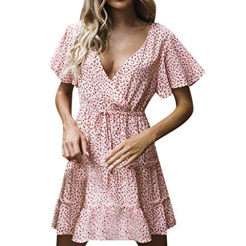 Kawaiine Vintage Women Casual Sexy Printing Short Sleeve Dress Khaki ()
