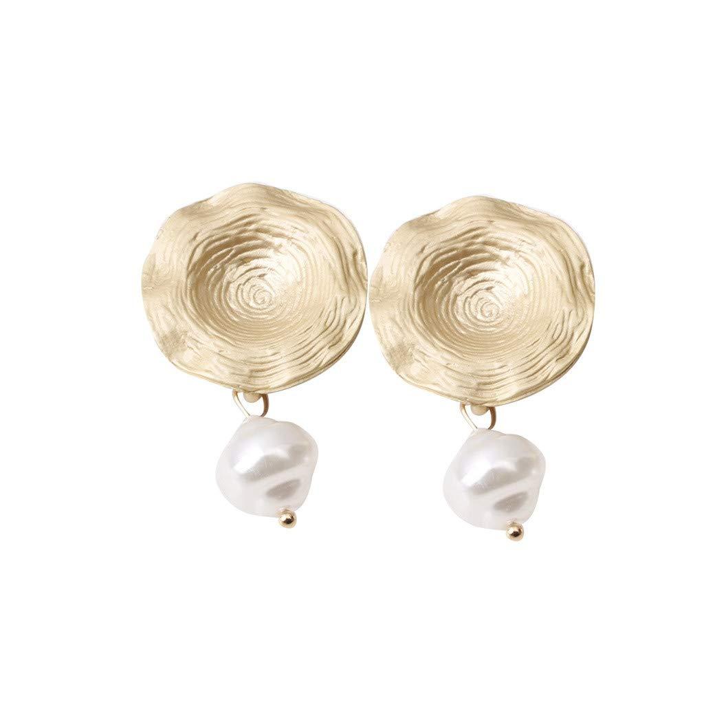 Orecchini donna-TianranRT★ Perline in metallo rosso irregolare di rete Orecchini geometrici creativi per signore elegante e raffinato Retr/ò e raffinato,Oro