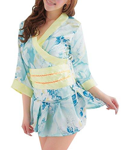 [Marshel Cosplay Japanese Kimono Costume Fancy Dress AX-JP-013] (Chun Li Wig)