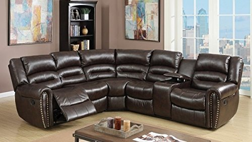Poundex Tamanna Brown Bonded Leather Reclining Sectional Sofa