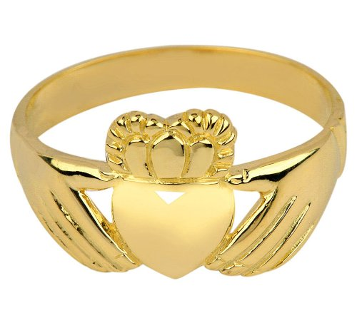 High Polish 14k Yellow Gold Claddagh Ring (Size 4.75) 14k Yellow Gold Polish